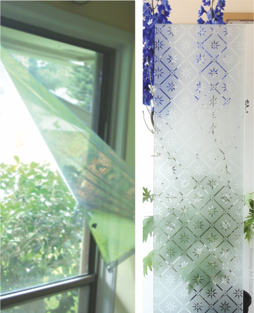 etched glass or plastic window film