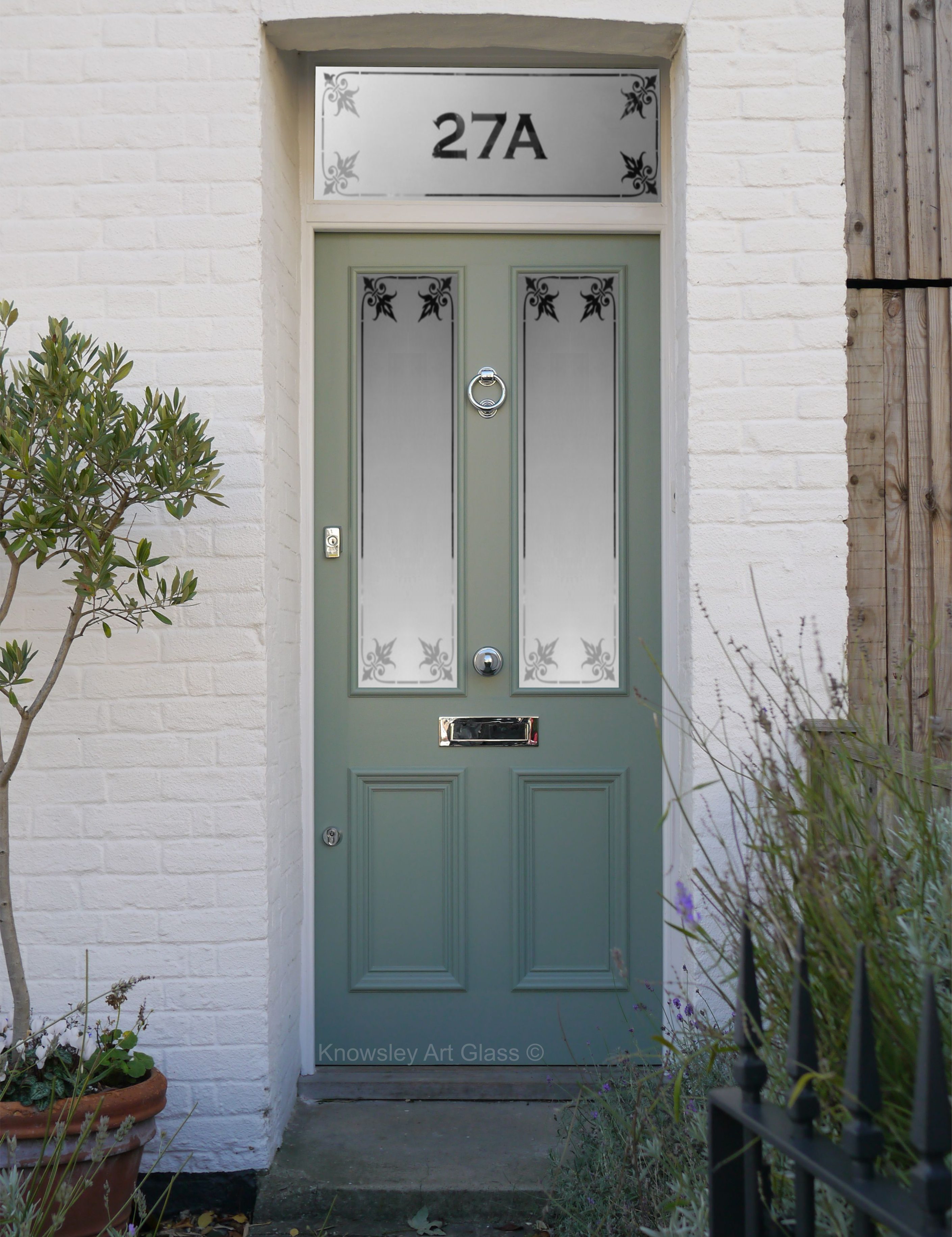 Etched Glass Panel Front Door House Number