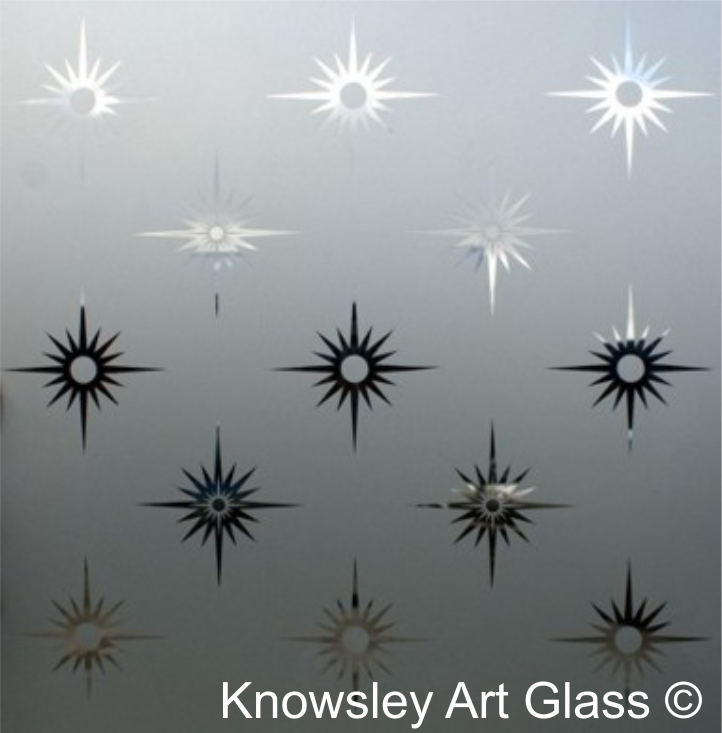 Star Etched Glass Panel